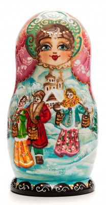 160 mm Russian Winter hand painted on Wooden Matryoshka doll 5 pcs (by Valeria Crafts)