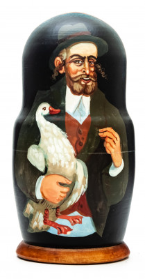 180mm Jew with Goose hand painted on wooden Matryoshka doll 5 pcs (by Alexander Famous Paintings Studio)