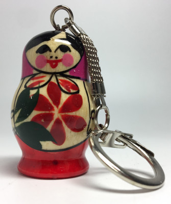 25 mm Semenovskaya Matryoshka Doll handpainted Wooden Key Chain (by Ivan Studio)