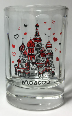 50 ml I Love Moscowl Decal Shot Glass 1 pcs (by AKM Gifts)