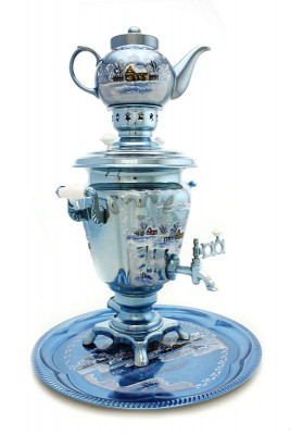 Winter Landscape Hand Painted Electric Samovar Kettle with Teapot and Tray