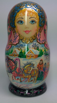 170mm Russian Troika hand painted Matryoshka doll 5pcs