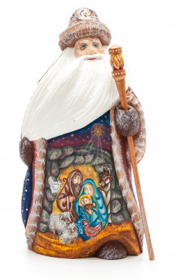 180 mm Santa Claus Hand Carved Wooden Figurine with painted picture Nativity
