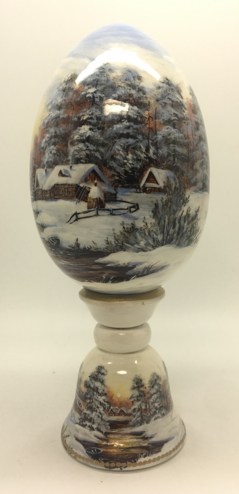 200 mm Russian Winter Landscape handpainted on wooden Egg with standby (by Tatiana Crafts)