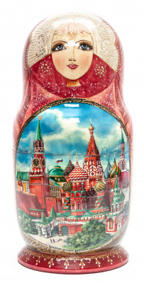 320 mm Moscow Snt Basil Cathedral hand painted wooden Matryoshka doll 15 pcs (by Trifonov Studio)