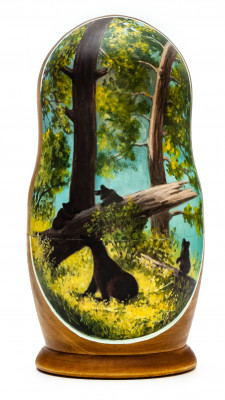 180 mm Morning in a Pine Forest by Shishkin and Savitsky hand painted on wooden Matryoshka doll 5 pcs (by Alexander Famous Paintings Studio)