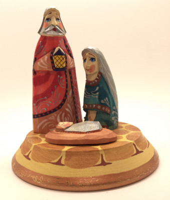 Nativity Set of 3 handpainted Carving Wooden Figures
