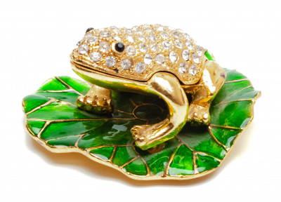 30 mm Frog on a Water Lily Jewellery Box
