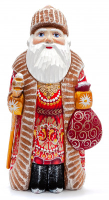 200 mm Santa Claus with a Staff And a Bag with Gifts (by Igor Carved Wooden Figures Studio)