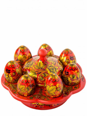 Holding Set for 7 Eggs and Butter Bowl hand painted woode Easter Set (by Golden Khokhloma)