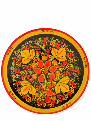 250x20 mm Khokhloma hand painted wooden Plate (by Golden Khokhloma)