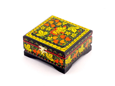 Khokhloma Painting Jewellery Wooden Box 120x115mm