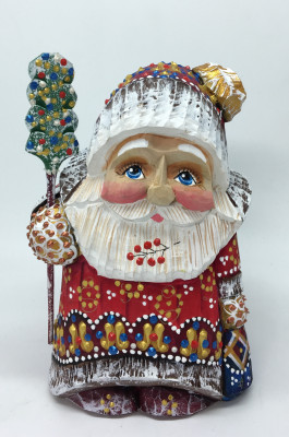 140 mm Santa Claus hand carved and painted wooden statue (by Natalia Workshop)
