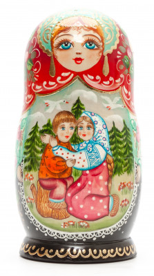 170 mm The Magic Swan-Geese hand painted on Wooden Matryoshka doll 5 pcs (by Valeria Crafts)