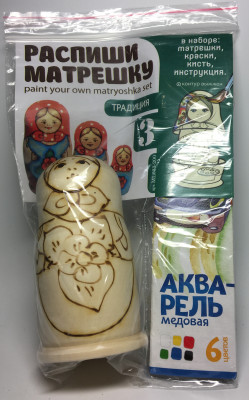 100 mm Blanc Matryoshka Traditional doll 3 pcs inside with paints, brushes, instruction manual (by Sergey Carved Wooden Dolls)