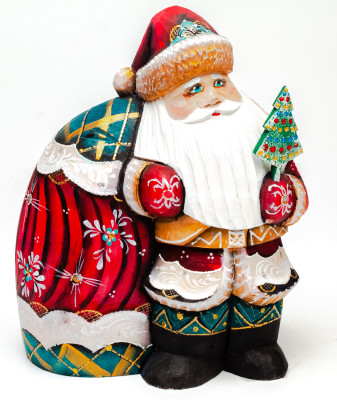 170 mm Santa Claus with a Huge Bag of Gifts Carved Wooden Figurine (by Igor Wooden Carvings Studio)