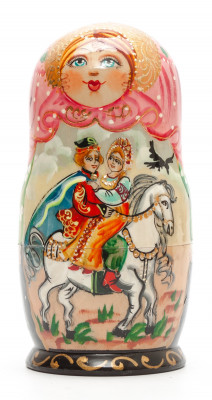 150 mm Russian Fairytale hand painted on Wooden Matryoshka doll 5 pcs (by Valeria Crafts)