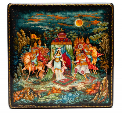 150x150mm The Tale of the Golden Cockerel hand painted lacquered box from Palekh (by Pavel Studio)