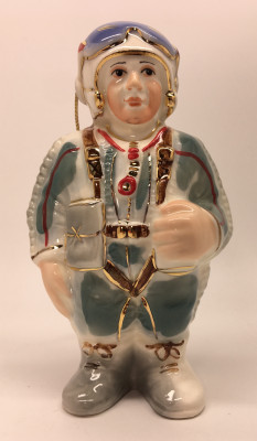 110 mm Pilot in a Compensation Suit and Helmet with Glasses hand painted porcelain Statue and Christmas Tree ornament (by Le Russe)
