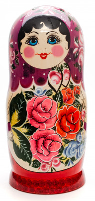 Violette Scarf hand painted Wooden Russian Matryoshka with 20 dolls inside