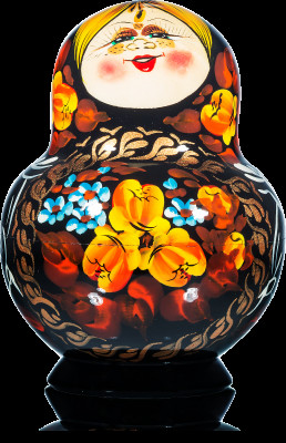 140 mm Freckles and Black Dress hand painted Wooden Matryoshka Doll 10 pcs (by Freckles Studio)