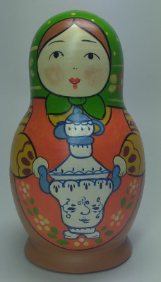 110mm Mistress with Ghzel Samovar hand painted Traditional Russian Wooden Matryoshka doll 5 pcs (by Igor Malyutin)