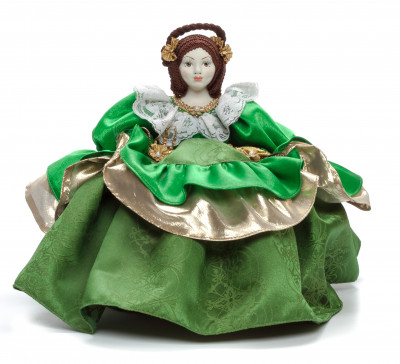 Young Lady in a Green Dress Kettle Porcelain Doll Warmer - 15 Inches
