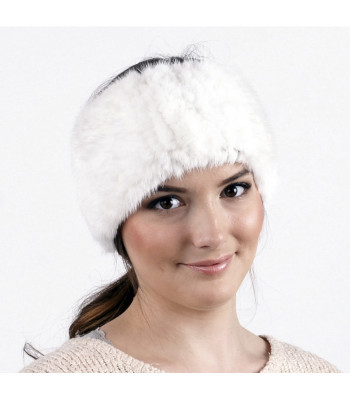 White Knitted Mink Fur Headband