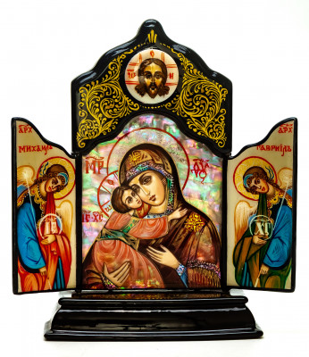 110x140mm Vladimirskaya Godmother handpainted on nacre Icon (by Galina Studio)