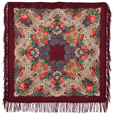 89x89 cm On the Wings of the Wind Woolen Shawl with Woolen Fringe Pavlovo Posad Manufactory