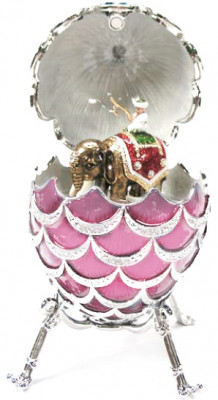92 mm Pink Pine Cone with Elephant inside Easter Egg