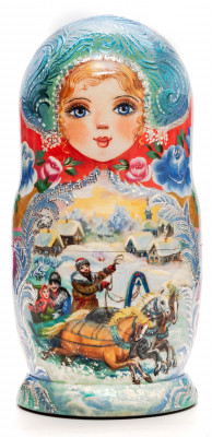 160 mm Russian Troika hand painted on Wooden Matryoshka doll 5 pcs (by Valeria Crafts)