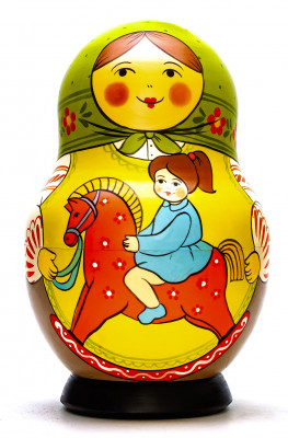 190 mm Mother with Daughter Riding the Wooden Toy Horse hand painted Traditional Russian Wooden Matryoshka round doll 10 pcs (by Sergey Malyutin)