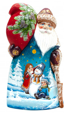 210 mm Santa Claus with a Painting of Children And a Snowman (by Igor Carved Wooden Figures Studio)