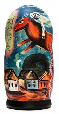 180mm Nocturne by Chagall hand painted on wooden Matryoshka doll 5 pcs (by Alexander Famous Paintings Studio)