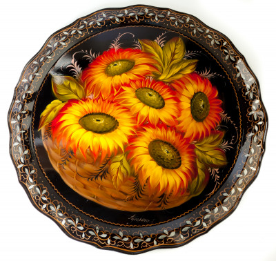 d 420 mm Sun Flowers & Zhostovo Patterns hand painted and lacquered by Golovina Metal Forged Tray (by Lada Crafts)