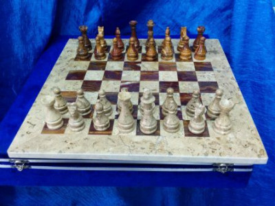 400x400 mm Brown & White Onyx Chess Pieces on Onyx Chess board (by Onyx Crfats)