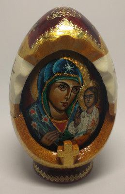 160 mm Unfading Flower Godmother Icon hand painted and carved wooden Matryoshka doll 5 pcs ( by Ludmila Icon Paintings )