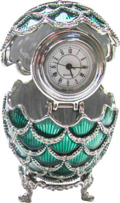 57 mm Green Pine Cone with Clock inside Easter Egg