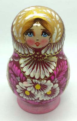 110 mm Daisies on violette background handpainted wooden Russian Matryoshka doll 5 pcs round shape