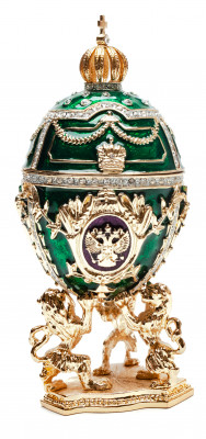 130 mm Green Music Easter Egg with the Basket and Lions