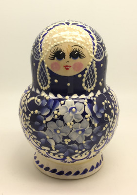 Gzhel Hand Painted Matryoshka Doll 10pcs
