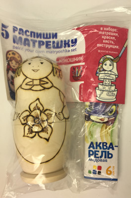 150 mm Blanc Matryoshka doll 5 pcs inside with paints, brushes, instruction manual (by Sergey Carved Wooden Dolls)