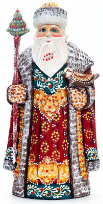 230 mm Santa with a Magic Staff and a Bird handpainted Wooden Carved Statue (by Natalia Nikitina Workshop)