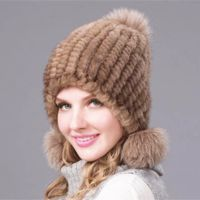 Knitted Mink Hat with Pompons, mahogany color