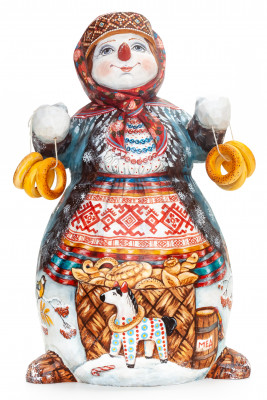260 mm Snowman with Bagels hand painted wooden figurine (by Natalia Nikitina Workshop)