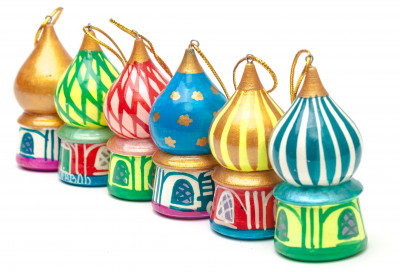 220x70 mm Moscow Domes Russian Christmas Tree Ornaments set of 6 pcs (by Andrey Studio)
