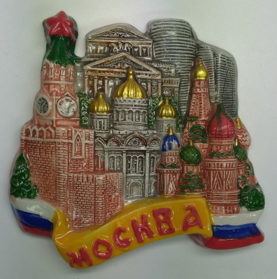 85x85 mm Spasskaya Tower Bolshoy Theatre Moscow City SBC CCS Ceramic Fridge Magnet (by Skazka)