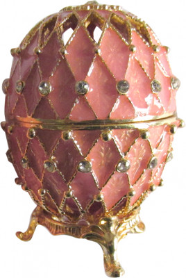 70 mm Golden Trellis on Pink Enamel Easter Egg