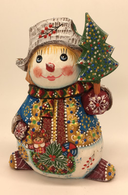 140 mm Snowman hand carved and painted wooden figurine (by Natalia Workshop)